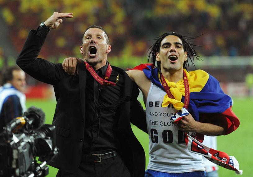 Diego Simeone i Radamel Falcao po zwycięstwie w Lidze Europejskiej w 2012 roku /Michael Regan /Getty Images