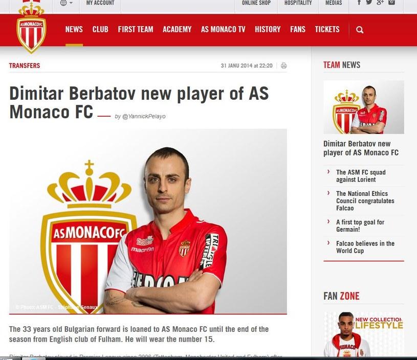 Dimitar Berbatow w barwach AS Monaco; źródło: asm-fc.com /Internet
