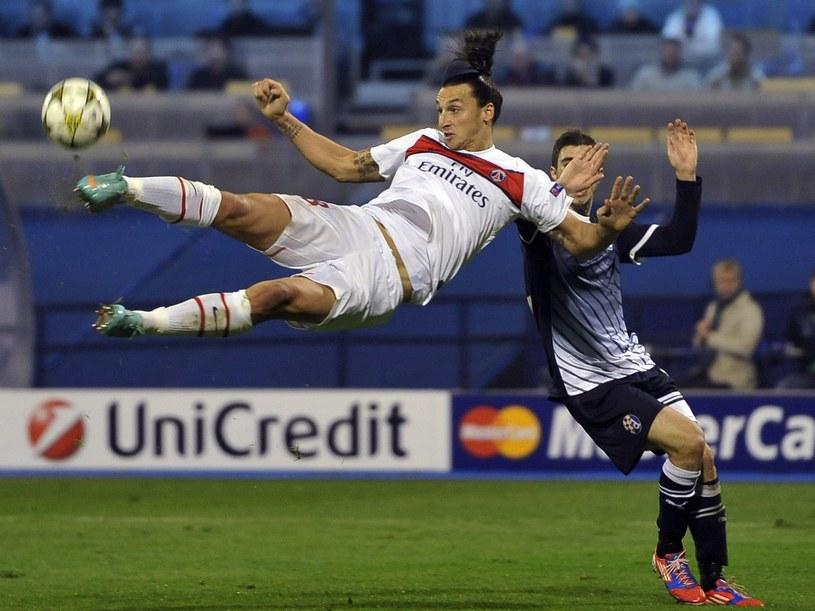 Dinamo przegrało z PSG 0-2. W akcji Zlatan Ibrahimovic /AFP