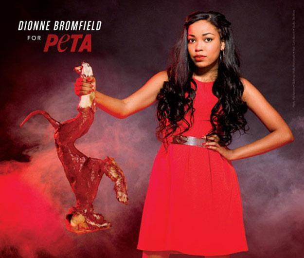 Dionne Bromfield w kampanii PETA /