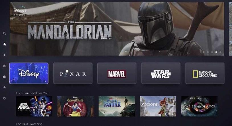 Disney+ wystartuje w listopadzie. Tak prezentuje się jego ekran główny z wyborem treści wideo /materiały prasowe