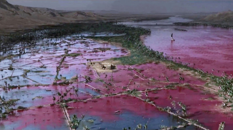 """Dlaczego rzeka stała się czerwona? Uczeni twierdzą, że są na to naukowe dowody (kadr z filmu """"Exodus: Bogowie i królowie"""") /East News"""