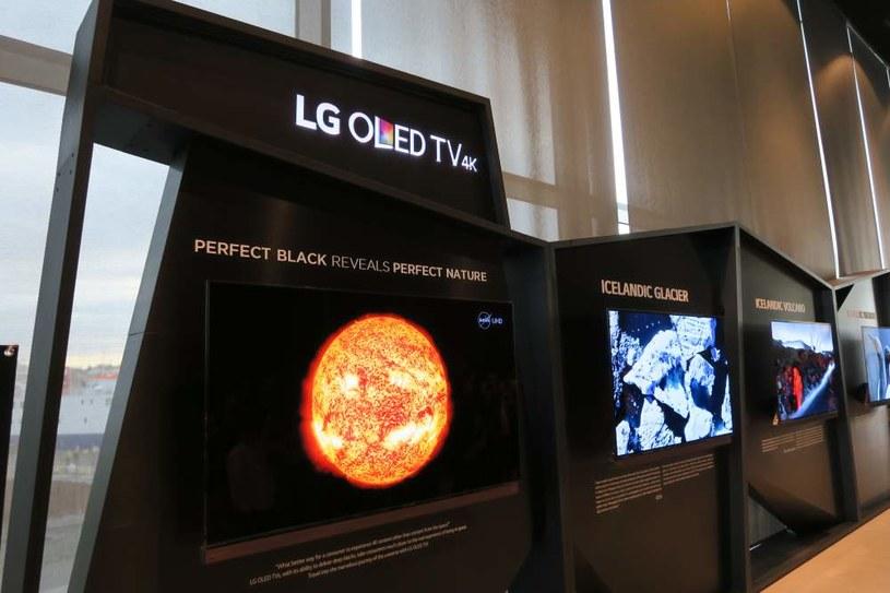 Długoterminową wystawa zdjęć zorzy polarnej, Drogi Mlecznej oraz islandzkich fiordów wyświetlanych na telewizorach OLED. /INTERIA.PL