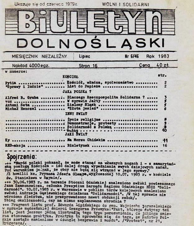Do dziś nie zostało wyjaśnionych kilkadziesiąt przypadków śmierci opozycjonistów w latach 80. (Biuletyn Dolnośląski nr 6/46; źródło: Encyklopedia Solidarności) /INTERIA.PL