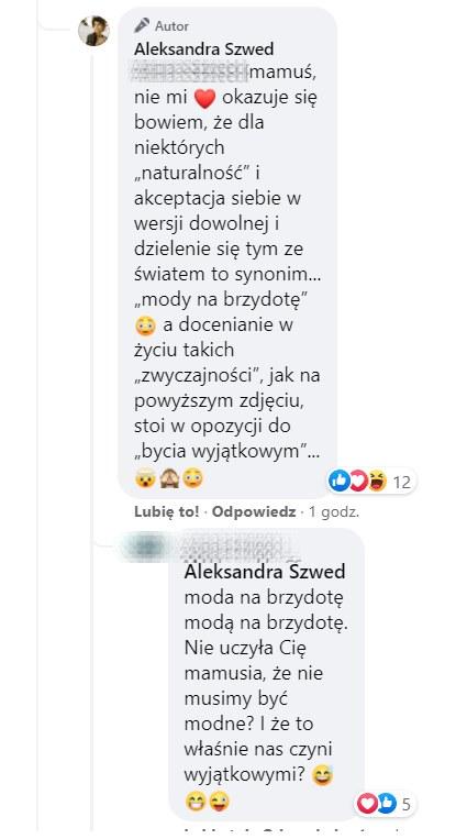 Do komentowanie włączyła się mam Oli Szwed, https://www.facebook.com/aleksandraszwed.official