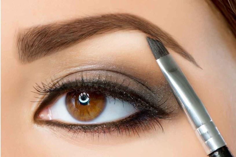 Do makijażu brwi cieniem używaj zawsze skośnego pędzelka o twardym i sztywnym włosiu /123RF/PICSEL