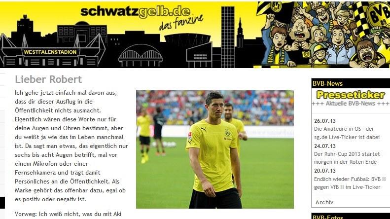 Do Roberta Lewandowskiego napisał jeden kibic, ale reprezentuje całą rzeszę fanów BVB. /INTERIA.PL