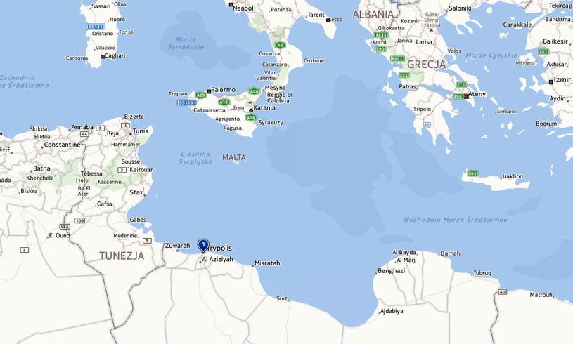 Do tragedii doszło u wybrzeży Libii na wschód od Trypolisu. /Mapy.interia.pl
