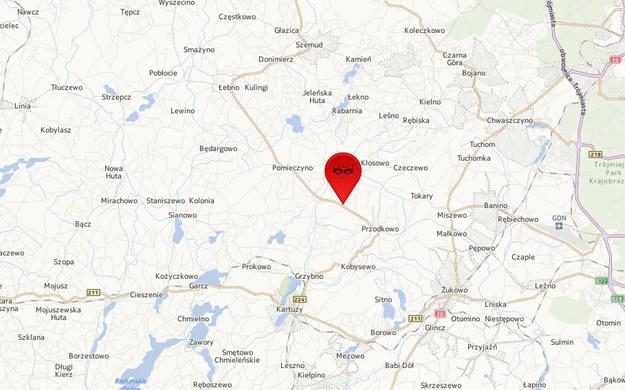 Do tragedii doszło w Załężu w powiecie kartuskim /Mapy.interia.pl /INTERIA.PL