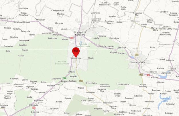 Do wypadku doszło na wysokości Suchedniowa. /Map24.interia.pl
