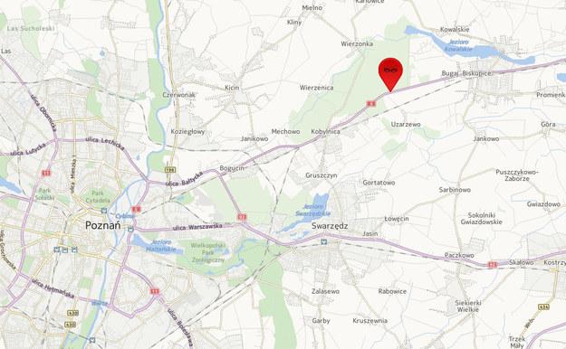 Do wypadku doszło na wysokości Uzarzewa /Mapy.interia.pl /INTERIA.PL
