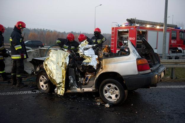 Do wypadku doszło na zjeździe z autostrady A2 na węźle Emilia, fot. Grzegorz Michałowski /PAP