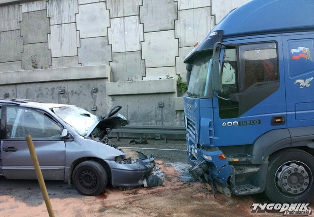 Do wypadku doszło przy zjeździe z dwupasmówki na szosę jednopasmową /Tygodnik Podhalański /