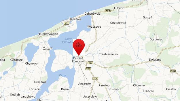 Do wypadku doszło w Kamieniu Pomorskim /Map24.interia.pl