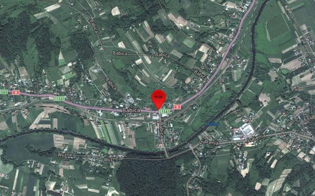 Do wypadku doszło w miejscowości Babica przy skręcie na Lubenię /Mapy.interia.pl /INTERIA.PL