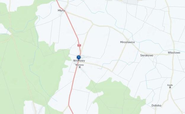 Do wypadku doszło w miejscowości Wronowy /Map24.interia.pl