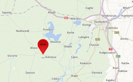 Do wypadku doszło w okolicach Świebodzina /Map24.interia.pl