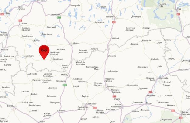 Do wypadku doszło w Wysokiej koło Działdowa /Mapy.interia.pl /INTERIA.PL