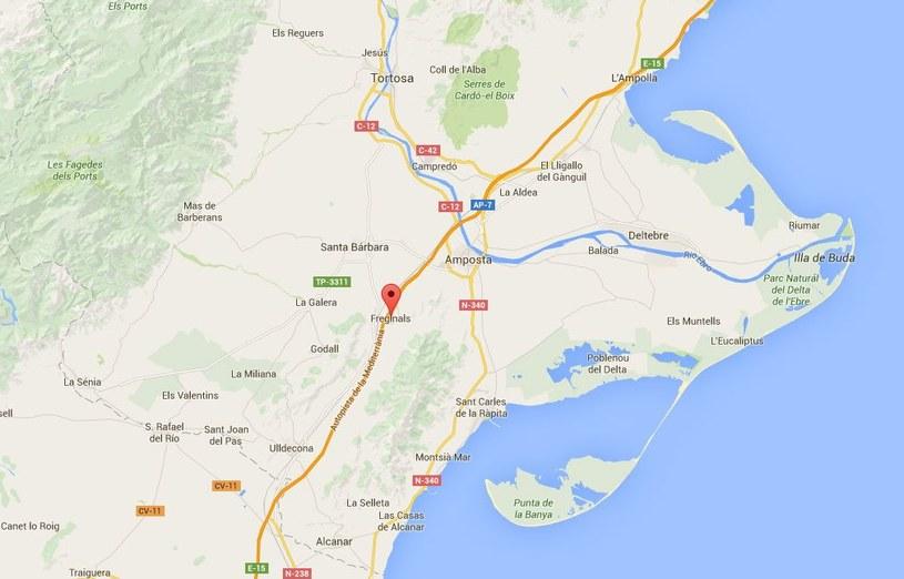 Do zderzenia autobusu z samochodem osobowym doszło na wysokości Freginals, w okolicach Tarragony /Google Maps /
