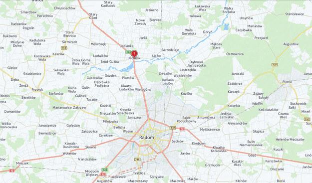 Do zderzenia samolotów doszło okolicy miejscowości Jedlińsk /INTERIA.PL
