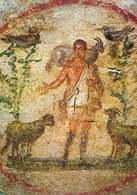 Dobry pasterz, fresk ze środka plafonu nad cubiculum Velatio w rzymskich katakumbach Pryscylli, dru /Encyklopedia Internautica