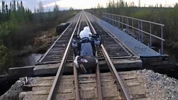 Dobrze, że motocykl wpadł w dziurę na samym początku mostu /