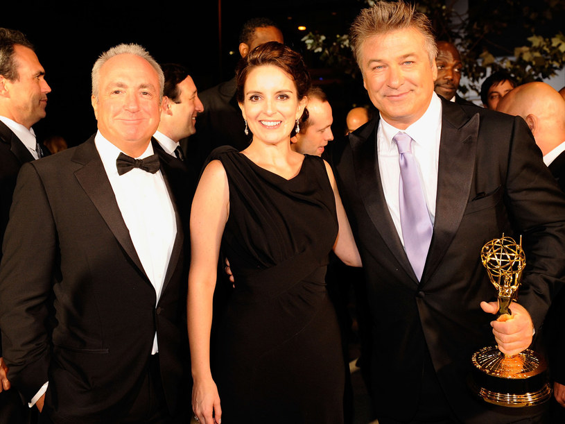 "Doceniony Alec Baldwin, serialowa Liz (Tina Fey) oraz producent ""Saturday Night Live"" Lorne Michaels /Kevork Djansezian /Getty Images/Flash Press Media"