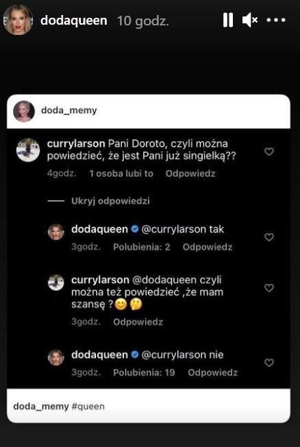 Doda odpowiada na komentarze https://www.instagram.com/dodaqueen/ /Instagram /Instagram