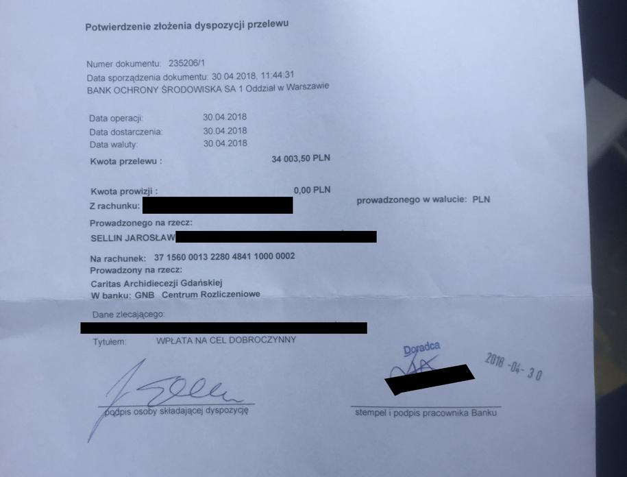 Dokument, który Jarosław Sellin pokazał naszym dziennikarzom /Karol Pawłowicki /RMF FM