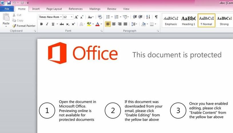 Dokument Office zawierający złośliwe makra /materiały prasowe