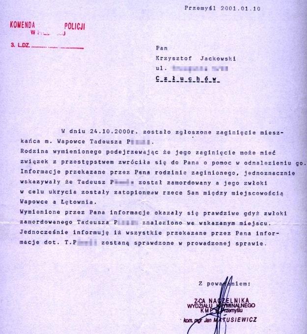 Dokument policyjny ze strony Krzysztofa Jackowskiego /Internet