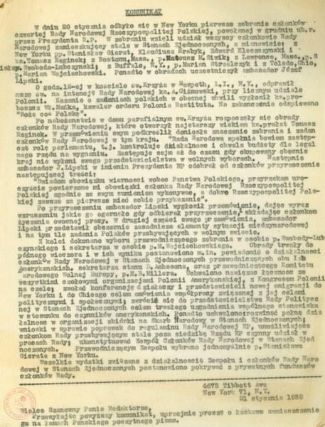 Komunikat IV Rady Narodowej RP, Nowy Jork, 21 stycznia 1952r.