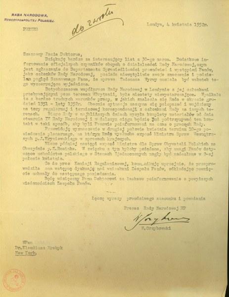 List prezesa IV Rady Narodowej RP Wacława Grzybowskiego do dr Klaudiusza Hrabyka, 4 kwietnia 1952r.