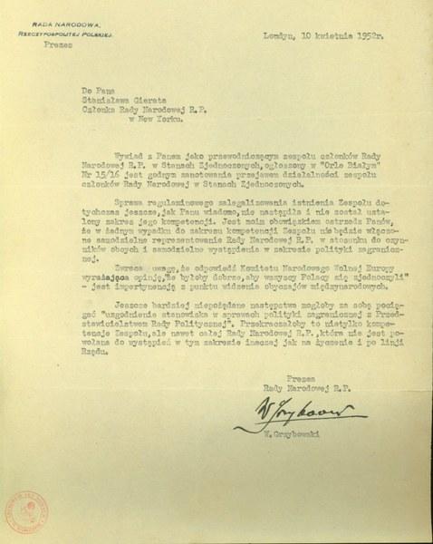 List prezesa IV Rady Narodowej RP Wacława Grzybowskiego do Stanisława Gierata, 10 kwietnia 1952r.