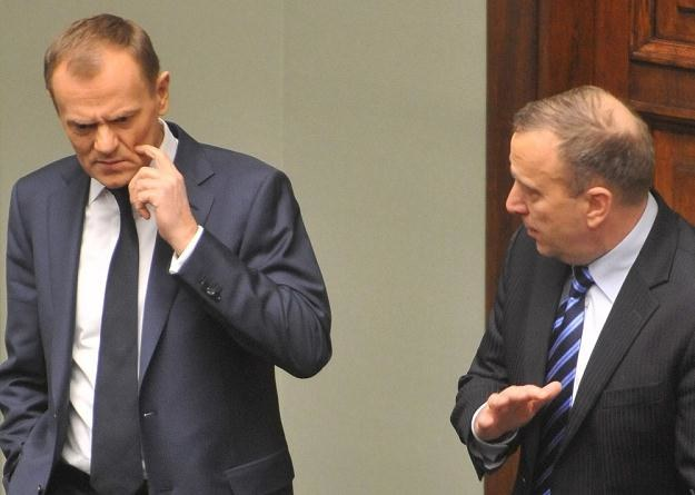 Doland Tusk i Grzegorz Schetyna. fot Lech Gawuc/ /Reporter