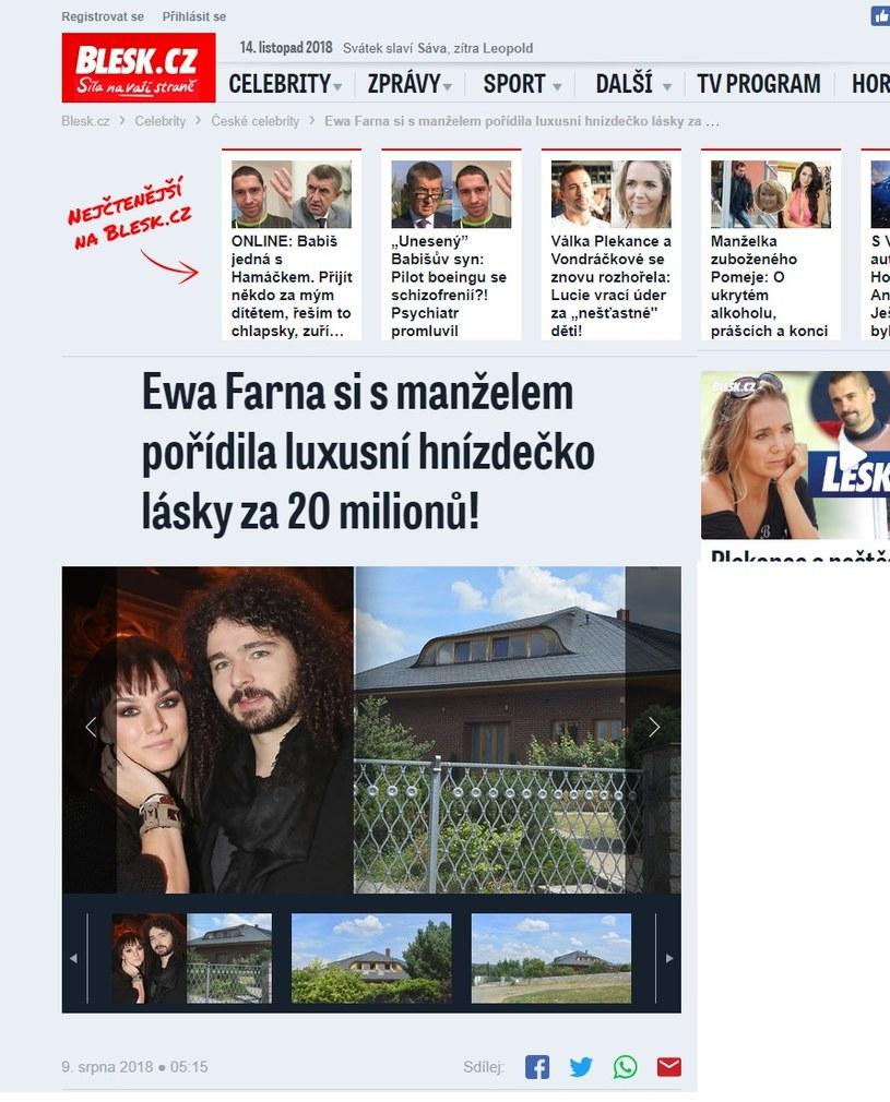 Dom Ewy robi wrażenie (Screen: www.blesk.cz) /materiał zewnętrzny