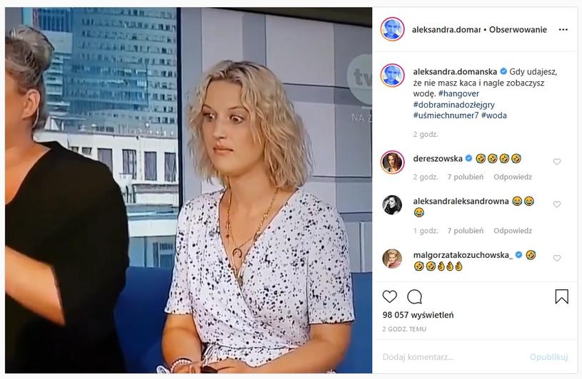 """Domańska w śniadaniówce """"na kacu"""" /Instagram"""