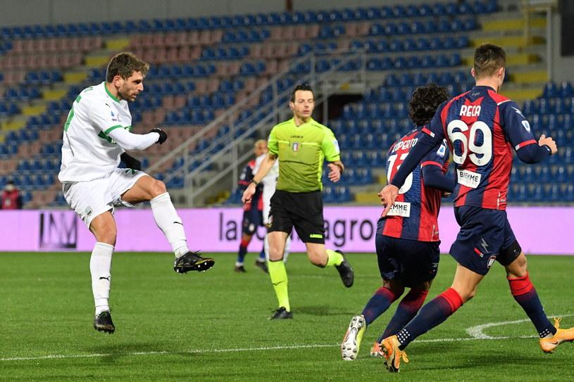 Domenico Berardi zdobył pierwszego gola w tym meczu /CARMELO IMBESI /PAP/EPA