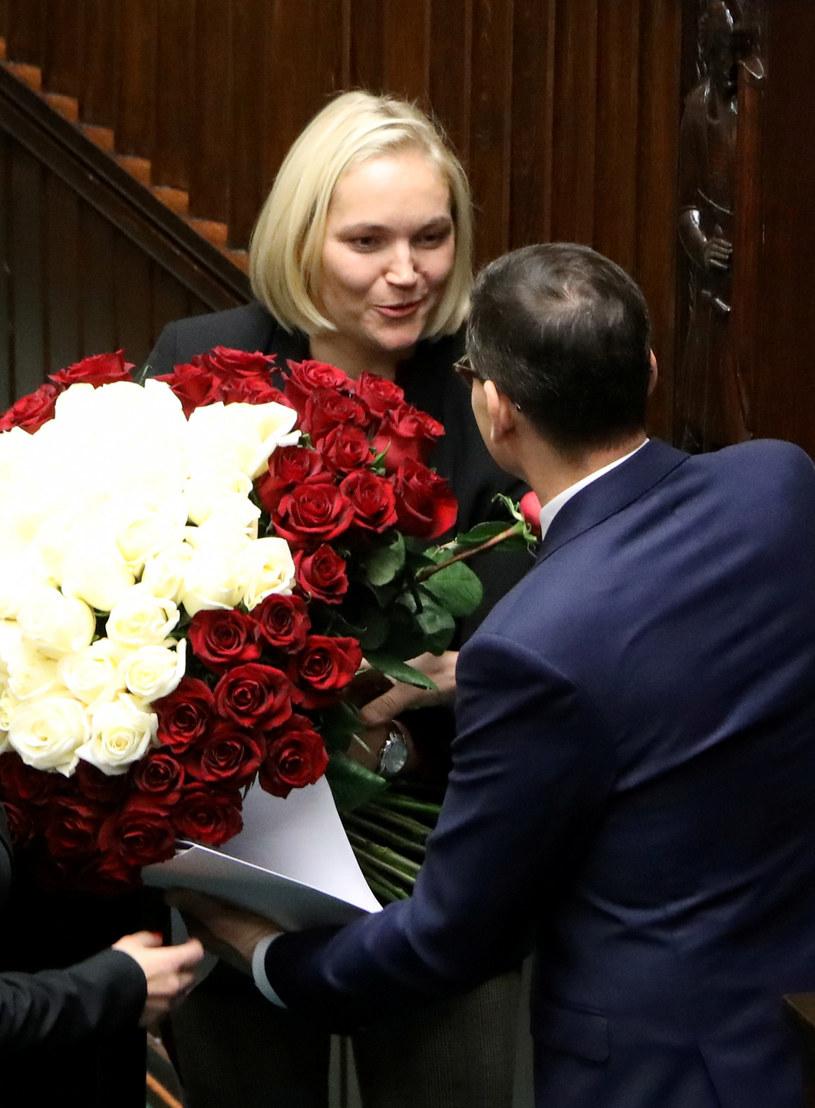 Dominika Chorosińska z premierem /Piotr Molecki /East News