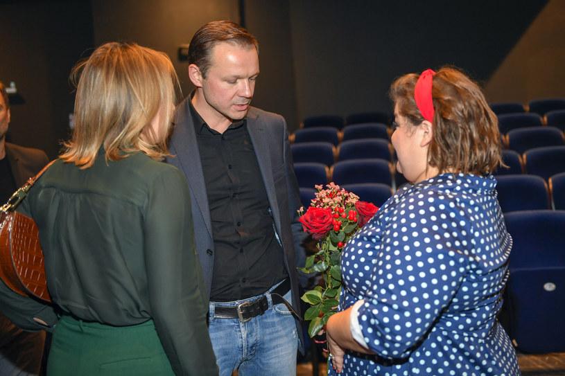 Dominika Gwit i Lesław Żurek na premierze stand-upu /Gałązka /AKPA