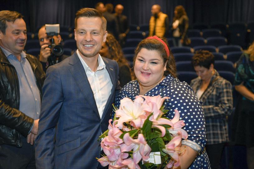 Dominika Gwit i Rafał Mroczek na premierze stand-upu /Gałązka /AKPA