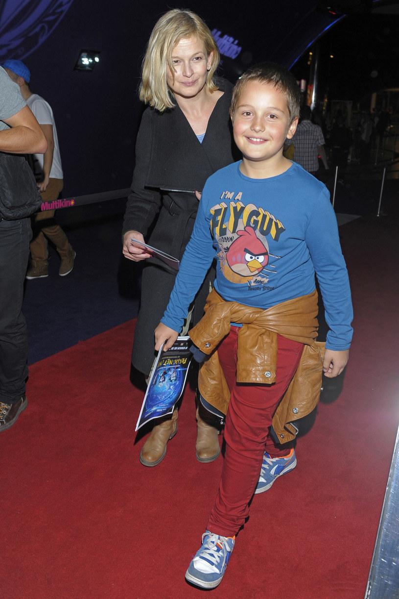 Dominika Ostałowska z synem, 2012 rok /Baranowski /AKPA