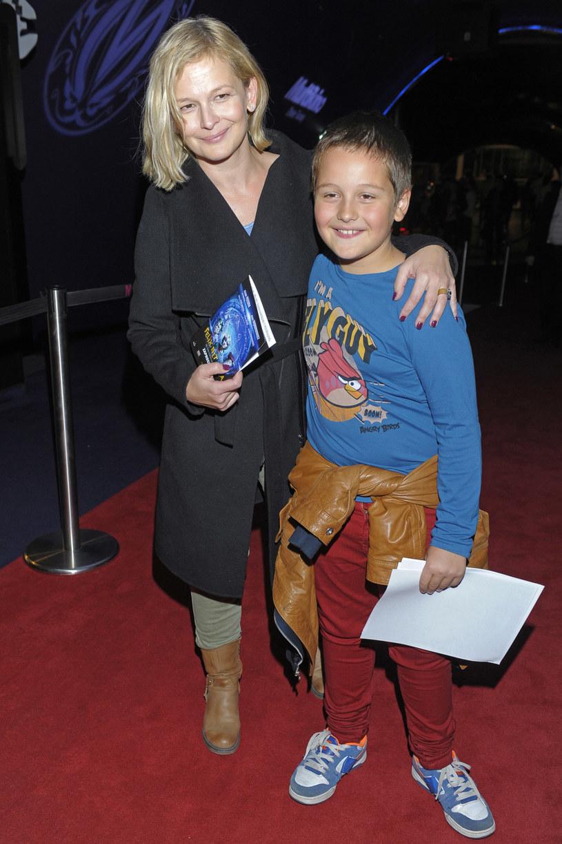 Dominika Ostałowska z synem Hubertem /Baranowski /AKPA