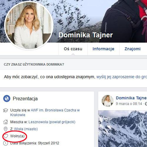 Dominika Tajner zmieniła status na Facebooku /Facebook