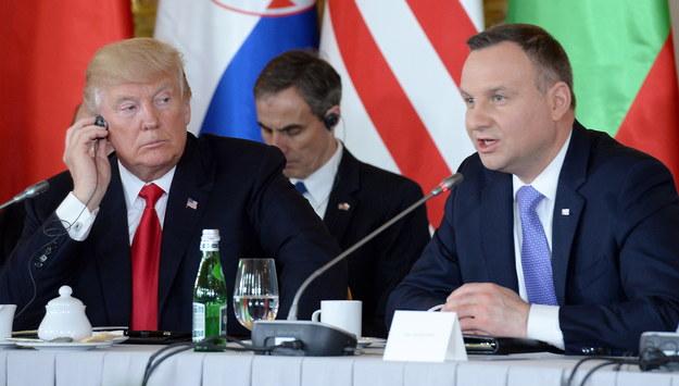 Donald Trump i Andrzej Duda podczas sesji transatlantyckiej /Jacek Turczyk /PAP