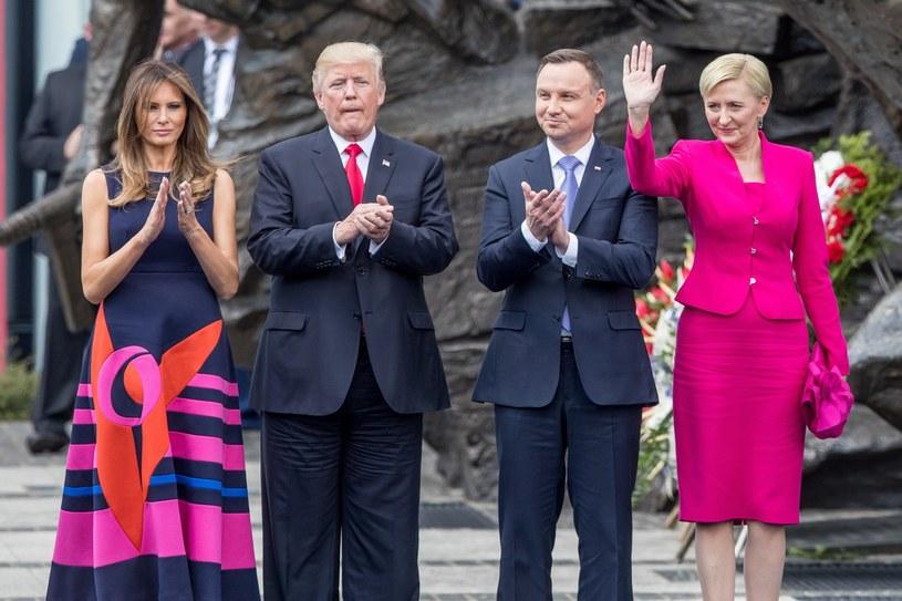 Donald Trump i Andrzej Duda z żonami /Andrzej Iwańczuk /Reporter