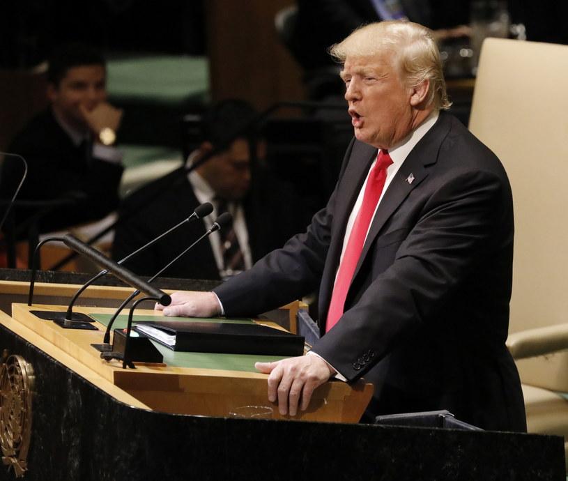 Donald Trump na sesji Zgromadzenia Ogólnego ONZ w Nowym Jorku /Peter Foley /PAP/EPA