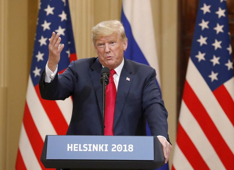 Donald Trump podczas konferencji prasowej z Władimirem Putinem /PAP/EPA