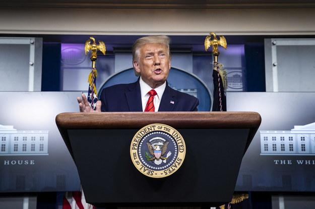 Donald Trump podczas konferencji prasowej /AL DRAGO / POOL /PAP/EPA