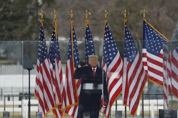 Donald Trump podczas przemówienia, po którym doszło do szturmu na Kapitol /Gripas Yuri/ABACA  /PAP/EPA